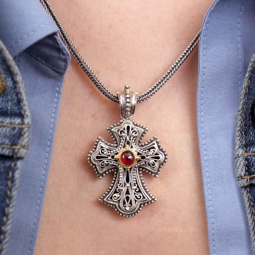 Open Filigree Flared Western Silver Cross With Gemstone