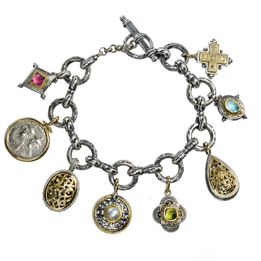 Super-Packed Circle Link Charm Bracelet