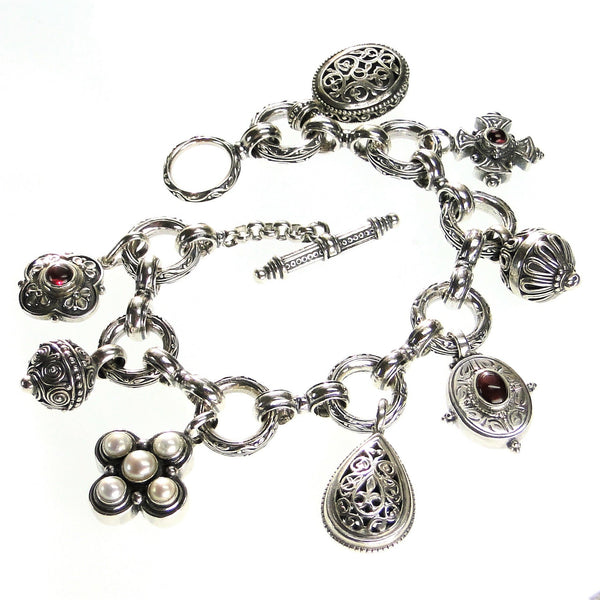 Heavy Silver Circle Link Charm Bracelet