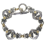 Gold Flower Circle Station Bracelet