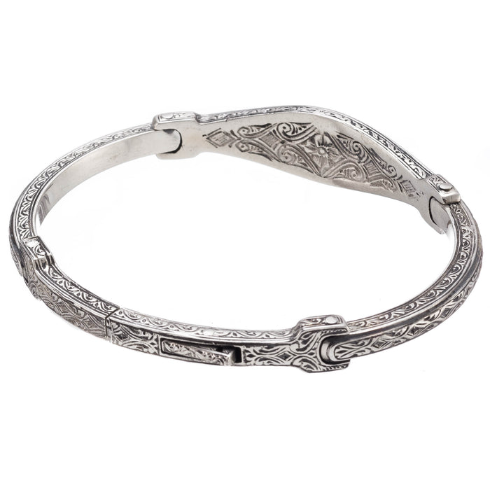 Silver Open Crosses Flex Bangle Bracelet