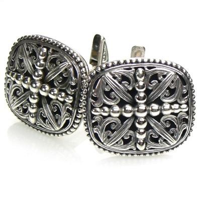 Garden Shadows Silver Beaded Cross Cufflinks