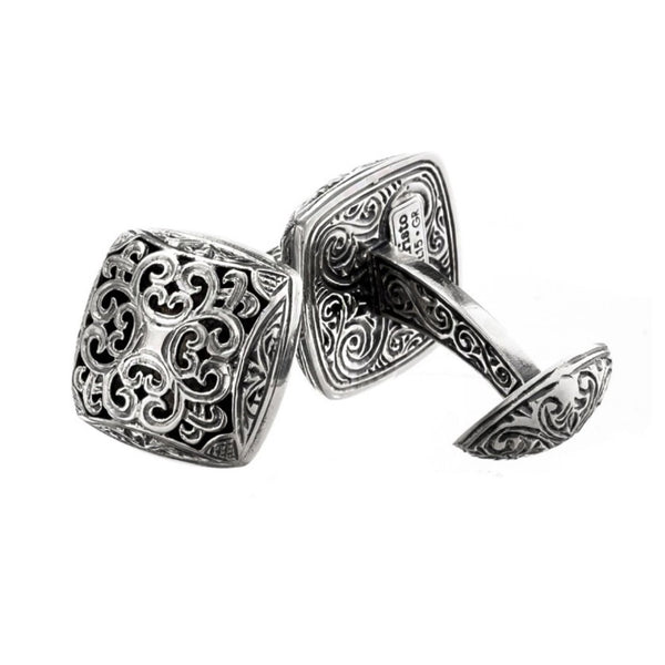Garden Shadows Square Medieval Sterling Silver Cufflinks