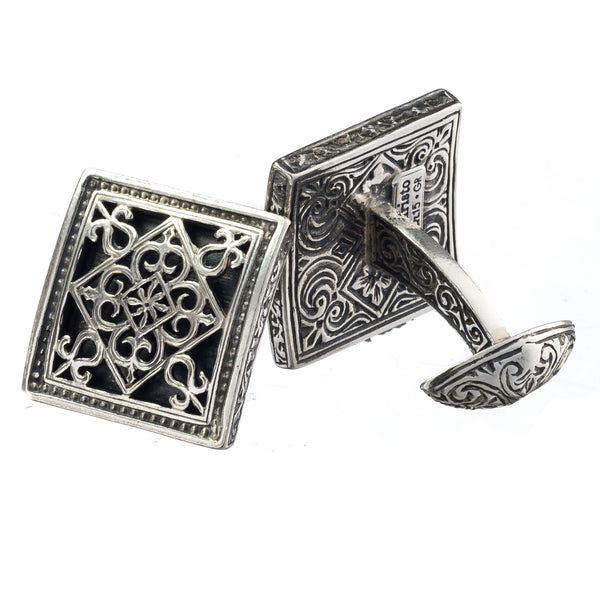 Monesteraki Church Garden Gates Silver Cufflinks
