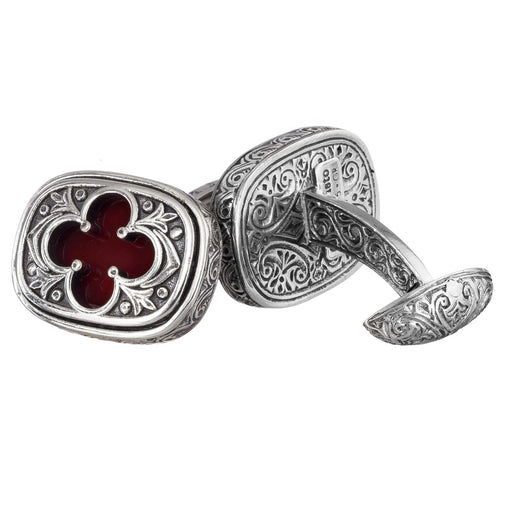 Sterling Silver Stone Inset Clover Cufflinks
