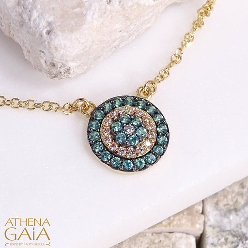 Paraiba Evil Eye Necklace