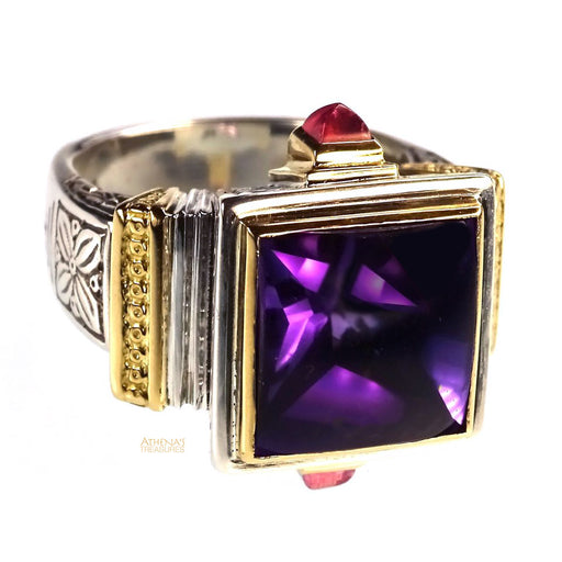 Stone Flanked Amethyst Ring