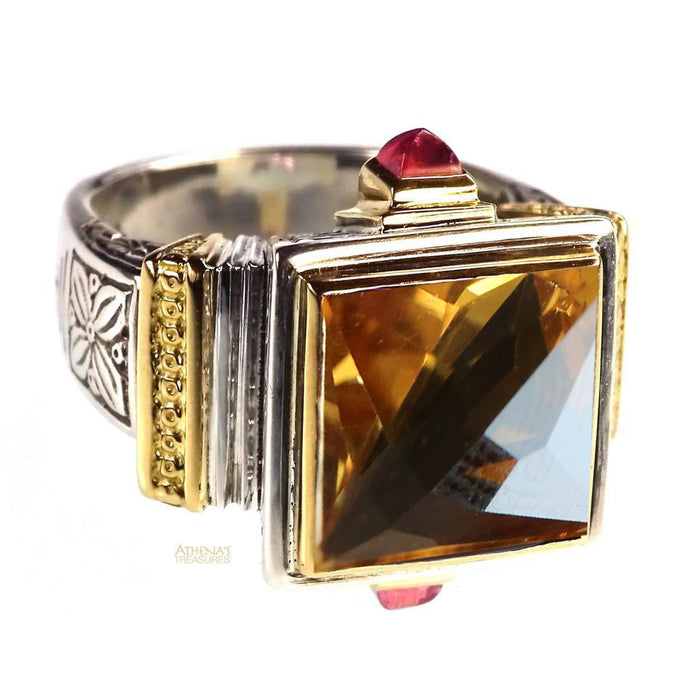 Stone Flanked Citrine Ring