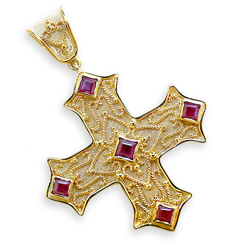 Eastern Christianos Gold Cross with Gemstones