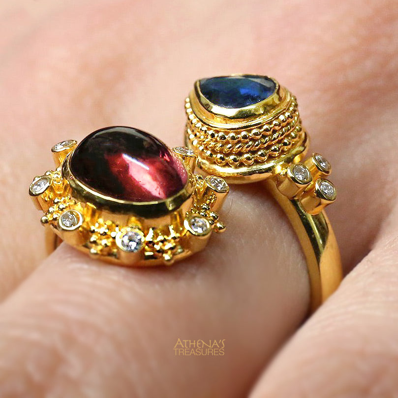 Mother and Child Red and Blue Raindrops Diamond Wrap-Around Ring