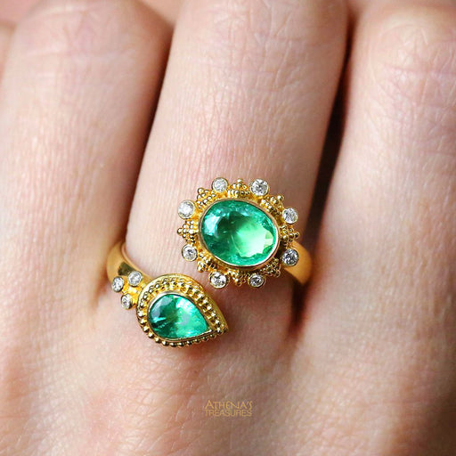 Mother and Child Emerald Bypass Ring
