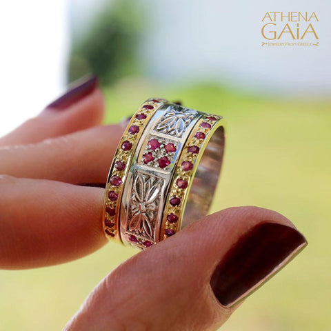 Anthemion Double Row Band Ring