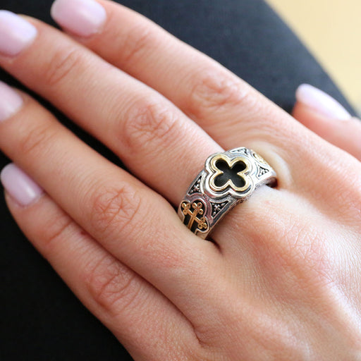 Gerochristo Open Crosses Band Ring