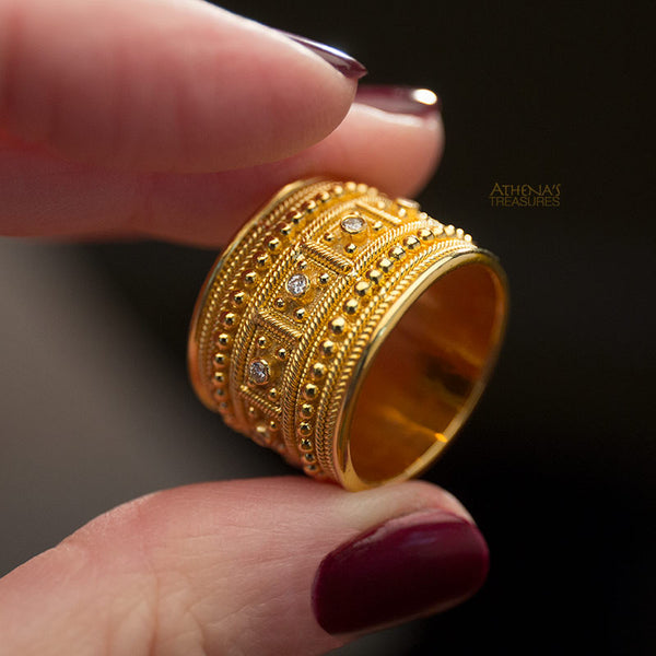 handmade greek diamond gold ring