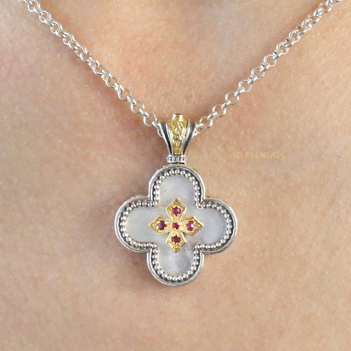 Mother of Pearl Clover Cross Pendant