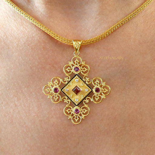 Diamond Filigree Flower Cross