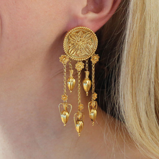 Anthemion Burst Amphora Museum Earrings