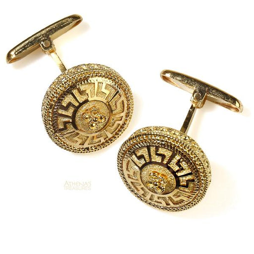 Greek Key Meander Circle Sided Cufflinks