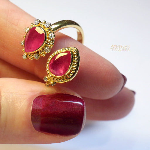 Mother and Child Ruby Bypass Ring
