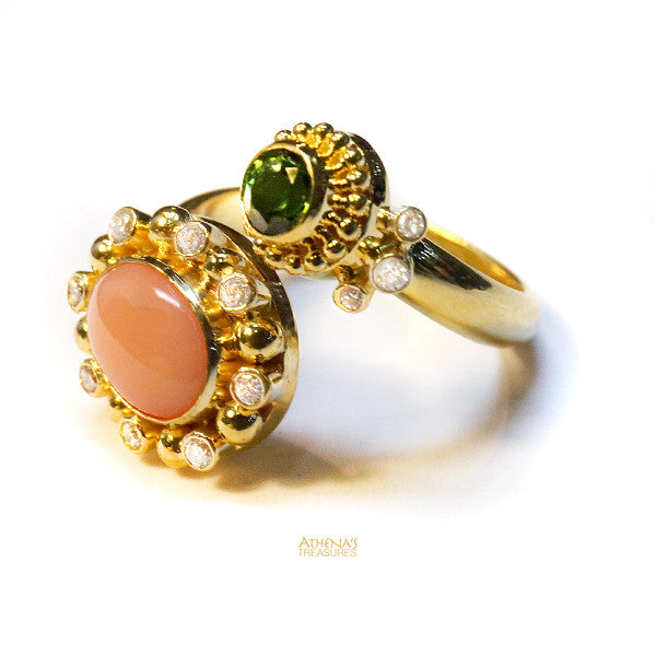 Mother and Child Coral Bypass Ring