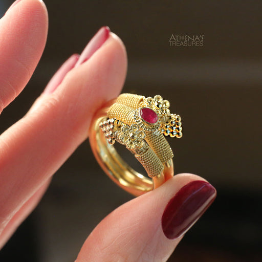 Double Rosette Serpent Ring