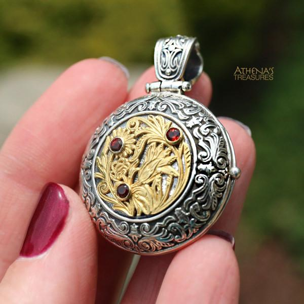 Ruby Wild Flower Locket