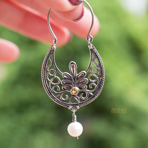 Anthemion Stone Drop Hoop Earrings