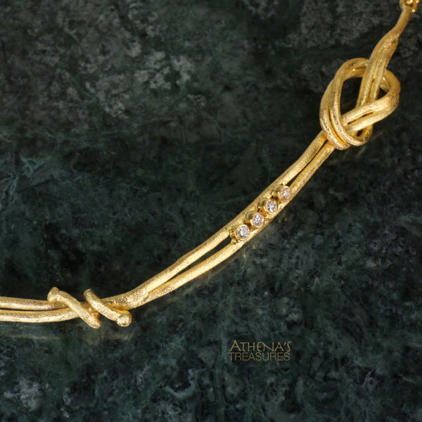 18k Gold Tie the Knot Diamond Row Necklace