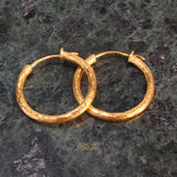 24k Hammered Yellow Gold Hoop Earrings