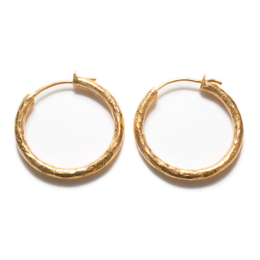 Hammered 24k Gold Hoop Earrings