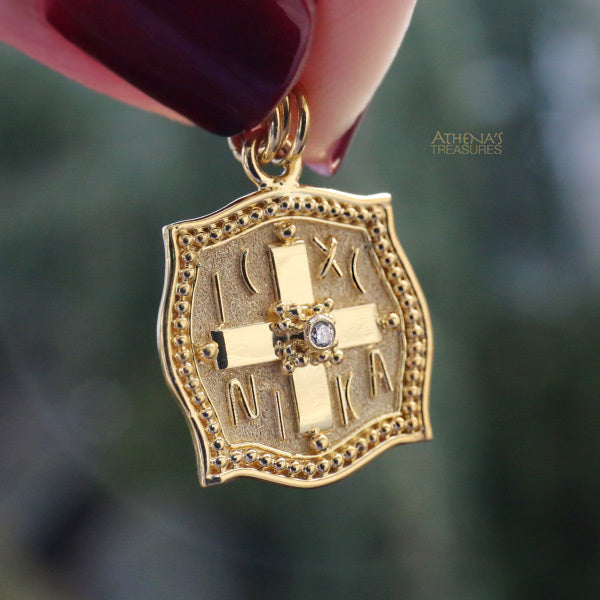 18k Gold Fireman's Diamond Cross