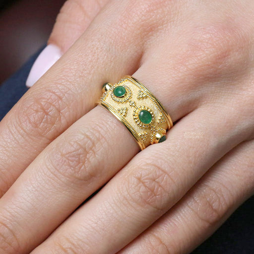 Byzantine Small Emeralds Band Ring