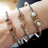 Color Fountain Open Bangle Bracelet
