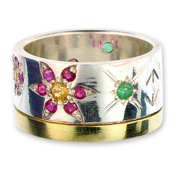 Cosmic Flowers Band Ring