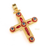 Diamond and Sapphires Enamel 18k Large Cross