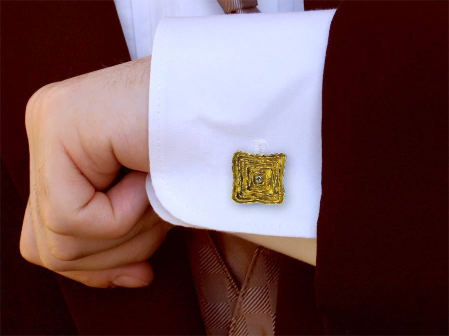 Mens Cufflinks - The Melting Walls™ Collection by Damaskos on model