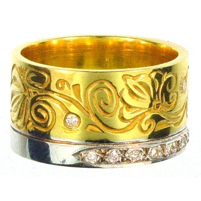 Evangelatos 18k Gold Flower Vine Diamond Band Ring