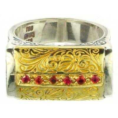 Evangelatos Anthemion Bar Ring with Center Stones