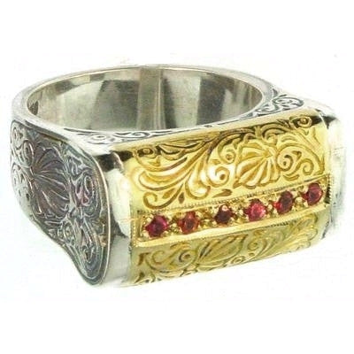 Evangelatos Anthemion Bar Ring with Center Stones Side View