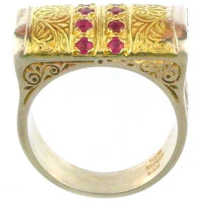 Evangelatos Anthemion Bar Ring with Pave Stones