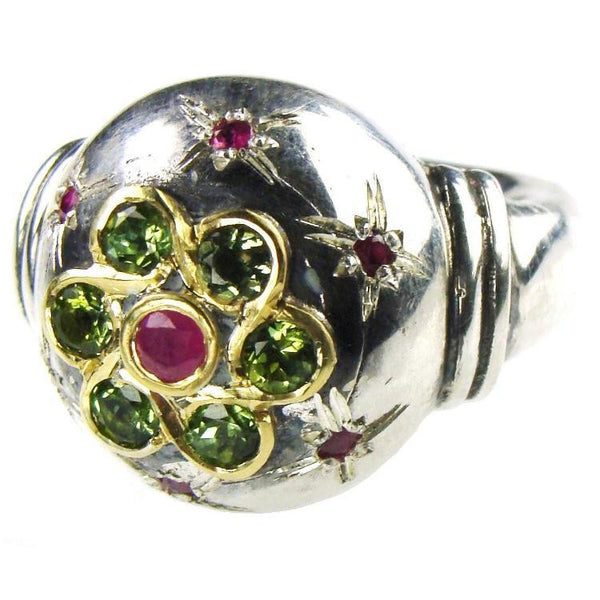 Evangelatos 7 Stone Cosmic Flower Ball Ring