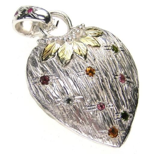 Silver Strawberry Heart Pendant