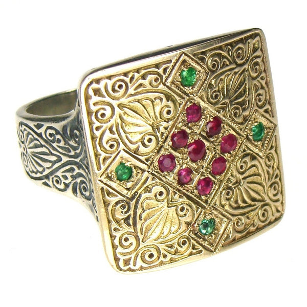 Evangelatos Anthemion Tetra Pave Ring