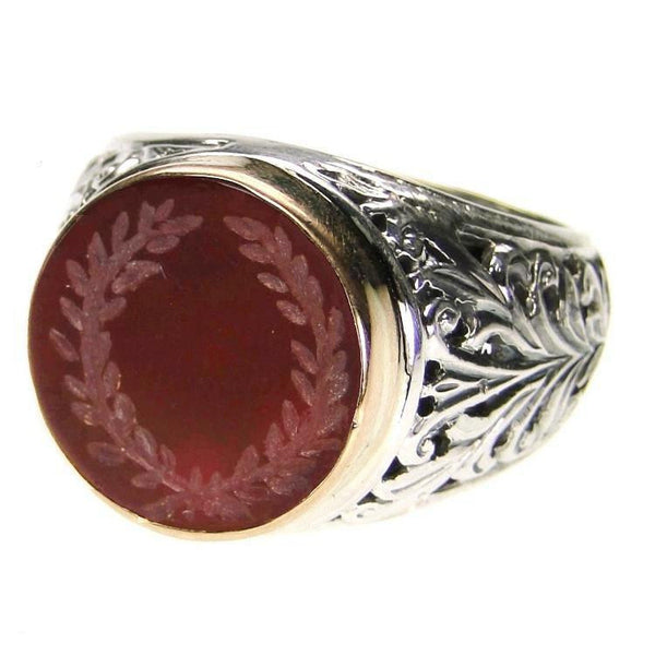 Evangelatos Carved Carnelian Wreath Ring