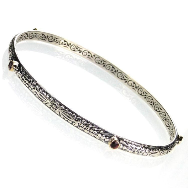 Evangelatos Etched Thin Bangle Bracelet detailed