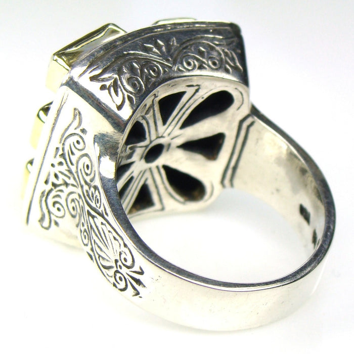 Evangelatos Small Stone Face Ring Back View