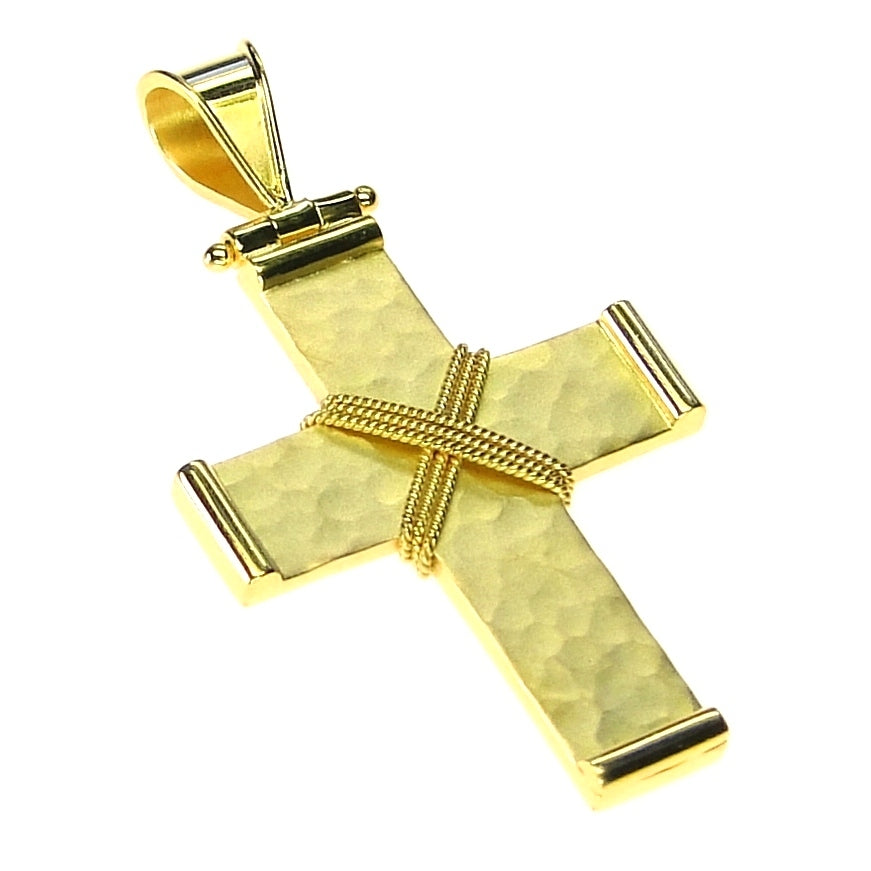 Hammered & Roped Damaskos Western Cross