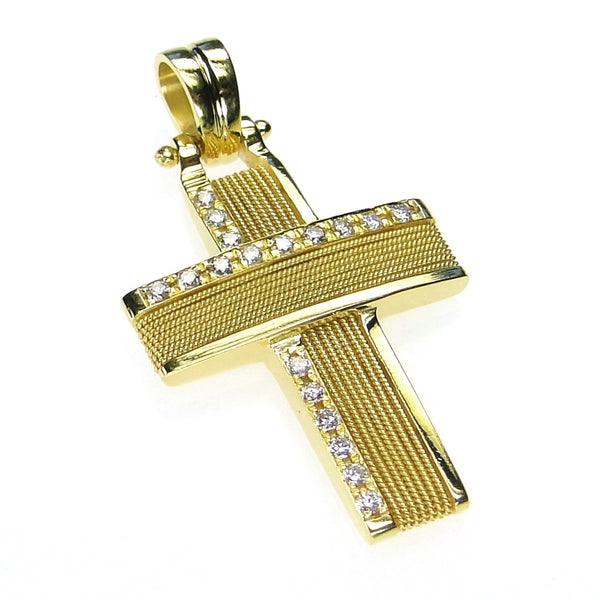 Diamond Bar 18k Gold Ropes Western Cross
