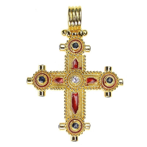 Ruby and Diamond Western Enamel Cross