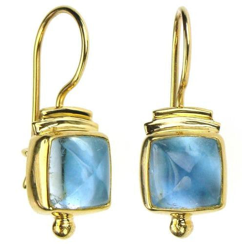 Evangelatos Square Aquamarine Wire Earrings